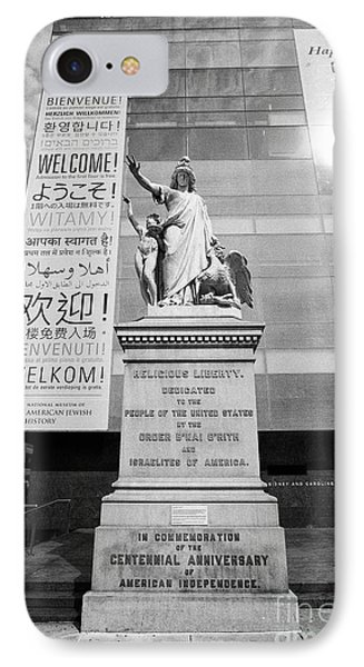 religious liberty centennial anniversary statue outside National museum of american jewish history P IPhone Case by Joe Fox