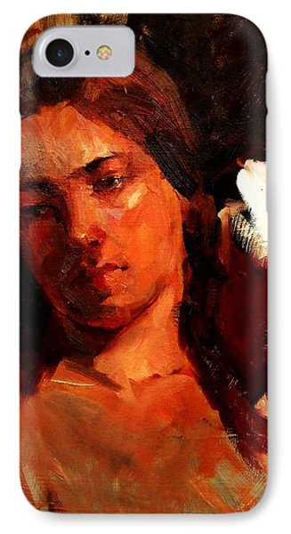 Religious Portrait Of A Young Boy Man Or Woman Reclining In Dramatic Thought Mystery Strong Cont IPhone Case