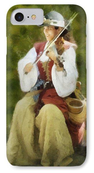 IPhone Case featuring the digital art Renaissance Fiddler Lady by Francesa Miller