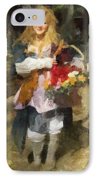 IPhone Case featuring the digital art Renaissance Flower Lady by Francesa Miller