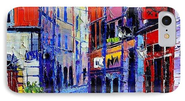 rendez-vous In Vieux Lyon 25x25 Cm IPhone Case by Mona Edulesco