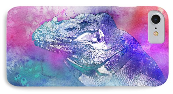 IPhone Case featuring the mixed media Reptile Profile by Jutta Maria Pusl