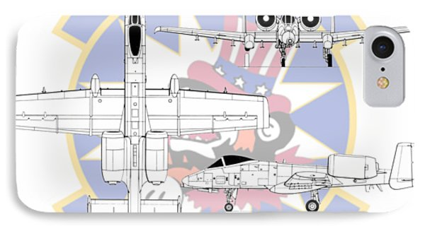IPhone Case featuring the digital art Republic A-10 Thunderbolt II by Arthur Eggers
