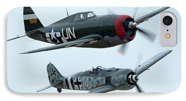 Republic P-47g Thunderbolt Nx3395g Focke Wulf Fw 190a-9 N190rf Chino California April 30 2016 Phone Case by Brian Lockett