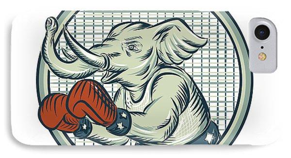 Republican Elephant Boxer Mascot Circle Etching IPhone Case