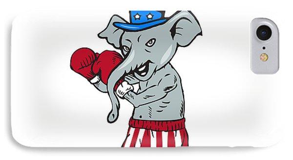 Republican Mascot Elephant Boxer Boxing Cartoon IPhone Case