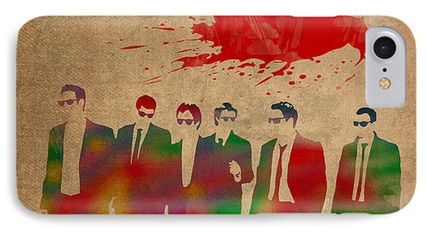 Reservoir Dogs Movie Minimal Silhouette Watercolor Painting IPhone Case by Design Turnpike