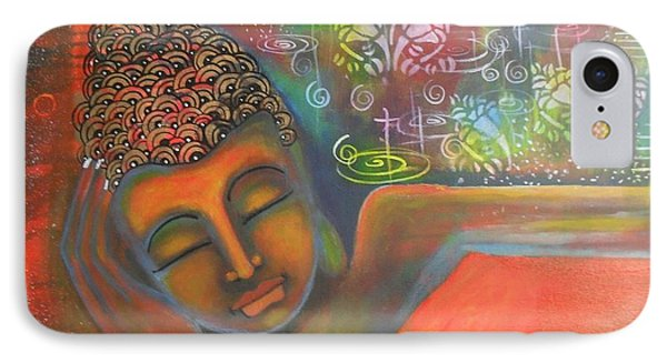 IPhone Case featuring the painting Buddha Resting Against A Colorful Backdrop by Prerna Poojara
