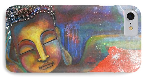 IPhone Case featuring the painting Buddha Resting Under The Full Moon  by Prerna Poojara