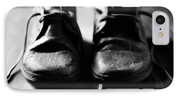 Retired Old Shoes IPhone Case by Muyiwa OSIFUYE