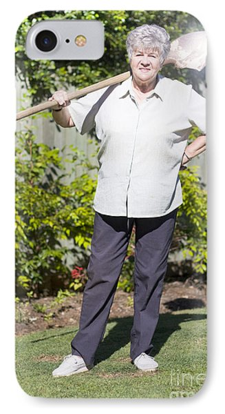 Retired Woman With Shovel IPhone Case by Jorgo Photography - Wall Art Gallery