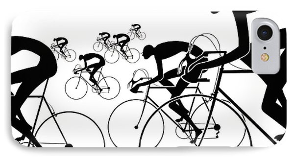 IPhone Case featuring the photograph Retro Bicycle Silhouettes 1986 by Padre Art
