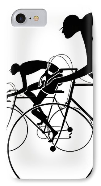 Retro Bicycle Silhouettes 2 1986 IPhone Case by Padre Art