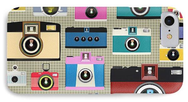 Retro Camera Pattern Phone Case by Setsiri Silapasuwanchai