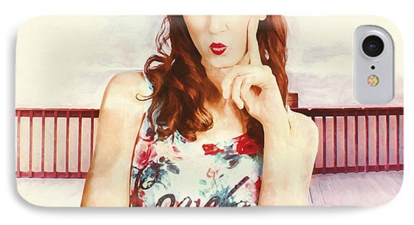 Retro Clip Art Of A Thinking Pin-up Woman IPhone Case by Jorgo Photography - Wall Art Gallery