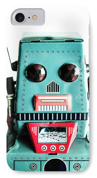 Retro Eighties Blue Robot IPhone Case by Jorgo Photography - Wall Art Gallery