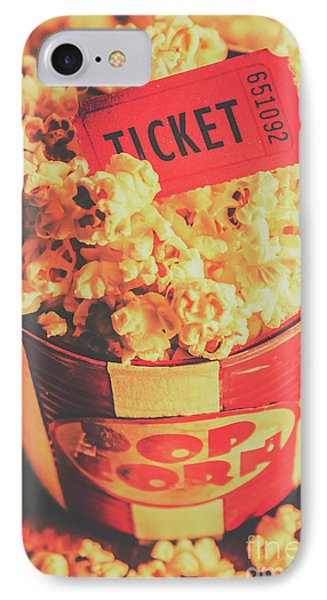 Retro Film Stub And Movie Popcorn IPhone Case by Jorgo Photography - Wall Art Gallery