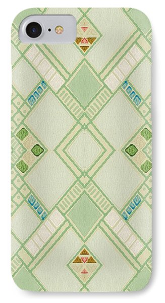 IPhone Case featuring the digital art Retro Green Diamond Tile Vintage Wallpaper Pattern by Tracie Kaska