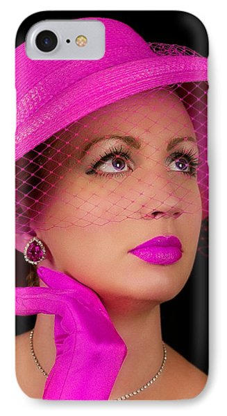 Retro Lady In Fuchsia IPhone Case by Trudy Wilkerson