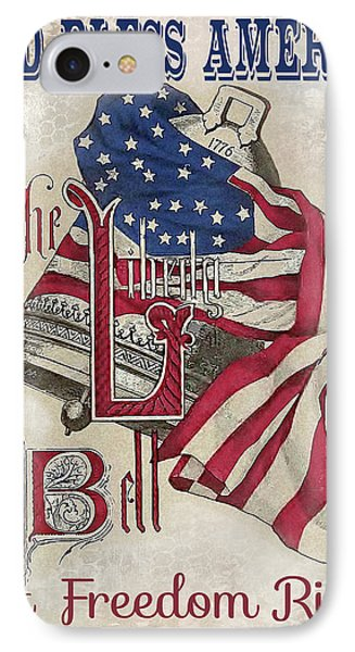 IPhone Case featuring the digital art Retro Patriotic-a by Jean Plout