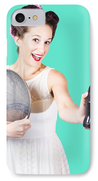 Retro Pin-up Girl Giving Bottle Of Soft Drink IPhone Case