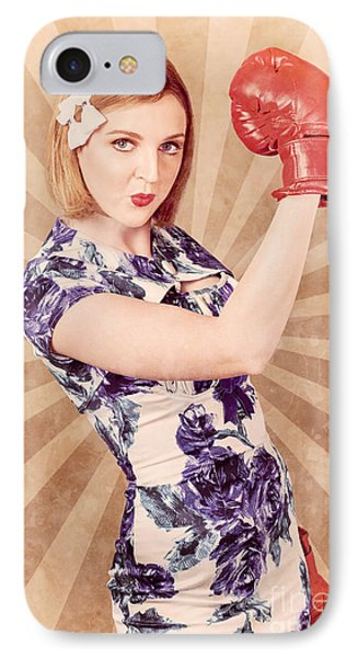 Retro Pinup Boxing Girl Fist Pumping Glove Hand  IPhone Case by Jorgo Photography - Wall Art Gallery