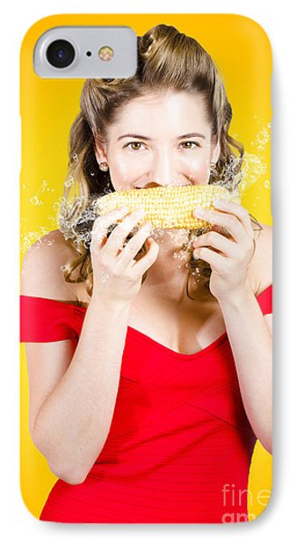 Retro Pinup Girl Eating Gmo Free Corn Cob IPhone Case by Jorgo Photography - Wall Art Gallery