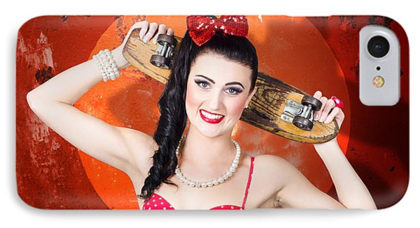 Retro Pinup Girl Holding Old Wooden Skateboard IPhone Case by Jorgo Photography - Wall Art Gallery