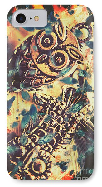 Retro Pop Art Owls Under Floating Feathers IPhone Case by Jorgo Photography - Wall Art Gallery