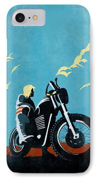 Motorcycle iPhone 7 Case - Retro Scrambler Motorbike by Sassan Filsoof