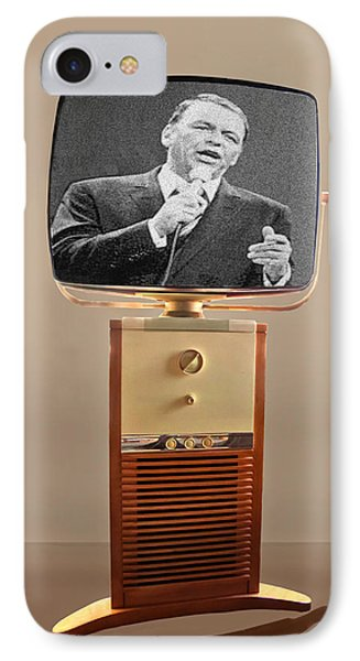 Retro Sinatra On Tv IPhone Case by Matthew Bamberg
