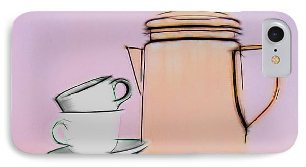 Retro Style Coffee Illustration IPhone Case by Tom Mc Nemar