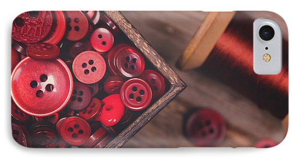 Retro Styled Red Buttons And Thread IPhone Case by Jane Rix