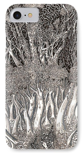 IPhone Case featuring the drawing Revolution In Shitaki Forest by Al Goldfarb
