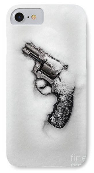 Revolver In The Snow IPhone Case by Edward Fielding