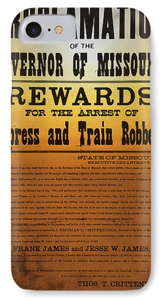 Reward For Frank And Jesse James Phone Case by Bill Cannon