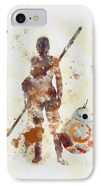 Rey And Bb8 IPhone Case by Rebecca Jenkins
