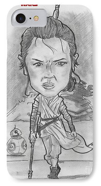 IPhone Case featuring the drawing Rey The Force Awakens by Chris DelVecchio