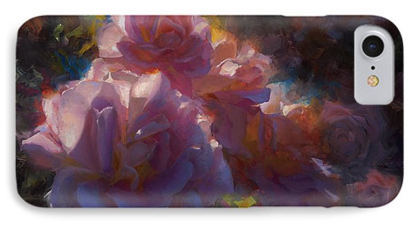 IPhone Case featuring the painting Rhapsody Roses - Flowers In The Garden Painting by Karen Whitworth