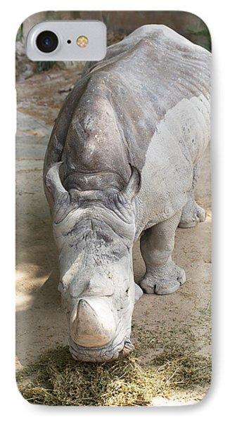 Rhino Eats Hay  IPhone Case by Vadim Goodwill
