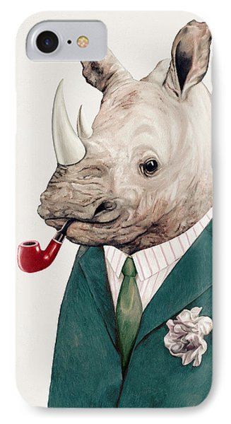 Rhino In Teal IPhone Case
