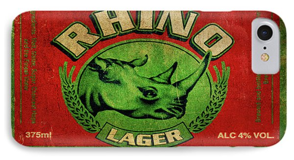 IPhone Case featuring the digital art Rhino Lager by Greg Sharpe