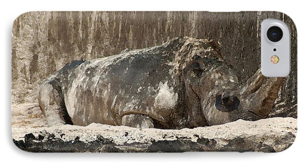 IPhone Case featuring the digital art Rhino by Walter Chamberlain