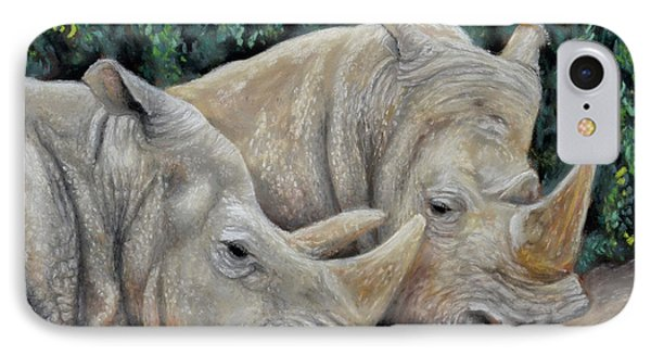 Rhinos IPhone Case by Sam Davis Johnson