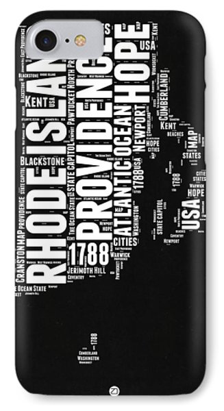 Rhode Island Black And White Map IPhone Case by Naxart Studio
