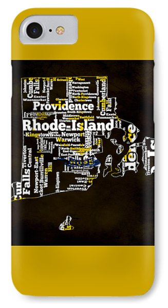 Rhode Island Typographic Map IPhone Case by Brian Reaves
