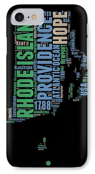 Rhode Island Word Cloud 2 IPhone Case by Naxart Studio