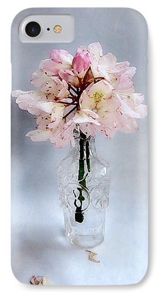 Rhododendron Bloom In A Glass Bottle IPhone Case by Louise Kumpf