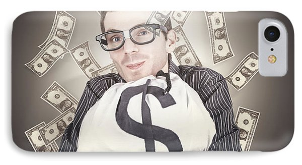 Rich Business Man With Bag Loads Of Money IPhone Case
