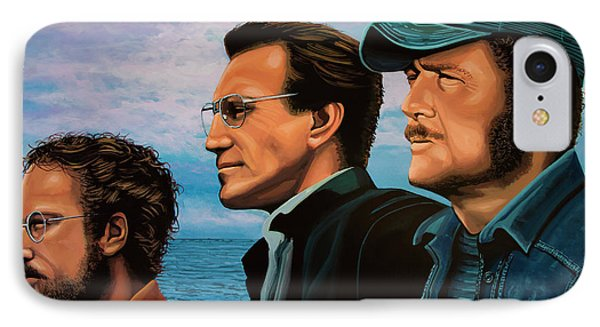 Jaws With Richard Dreyfuss, Roy Scheider And Robert Shaw IPhone Case by Paul Meijering